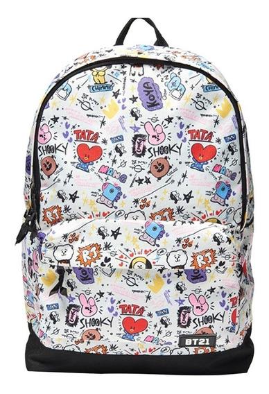 Saco De Escola Cartoonprinted Bts Bt21 Bangtan Boys Backpack