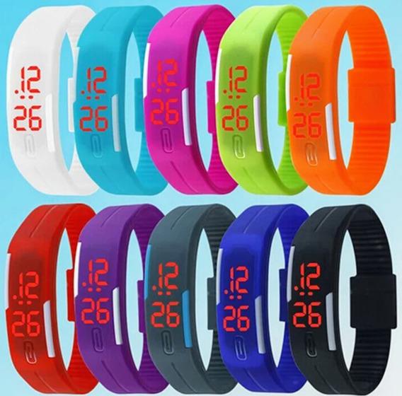 Kit C/ 3 Relógio Digital Pulseira Led Escolha Suas Cores