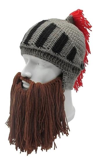 Gorro Casco Romano Tejido Con Barba Desmontable Unisex