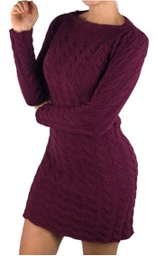 Vestido Feminina De Frio De Lã Mousse Sem Costura Tricot
