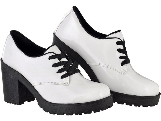 Oxford Feminino Verniz Salto Tratorado Cr Shoes 1710