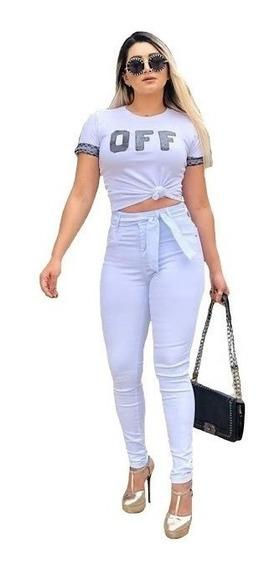 Calças Feminina Cintura Alta Cós Alto Jeans Coloridas