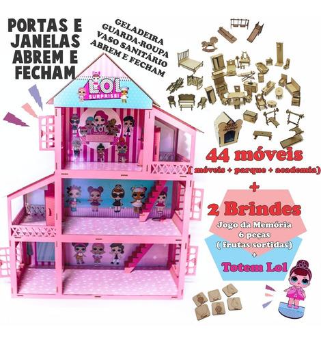 Imagem 1 de 3 de 5 Kit Casinha De Boneca + Móveis E Brindes Pintada Adesivada