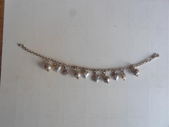 Pulseira Prata Bali 925 Coracao Estrelas 032