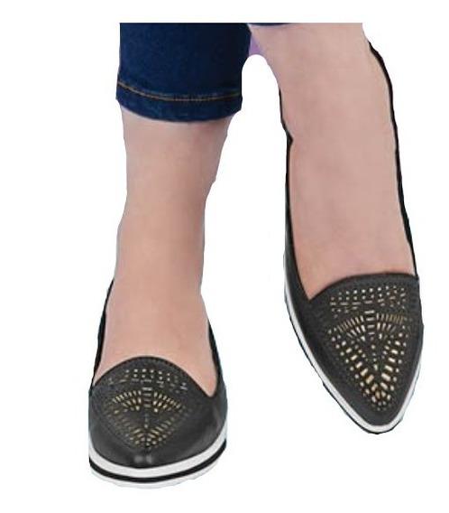 Calzado Zapato Dama Mujer Color Negro Cómodo Troquelado