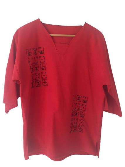 Blusa Camisola De Algodón Roja Artesanal Pintada A Mano