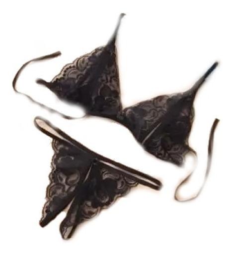 Ropa Intima Conjunto Sexy Bralette Abierto X 3 Unidad