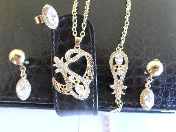 Colar+pingente+brincos+anel+pulseira Banhado De Amarelo Ouro