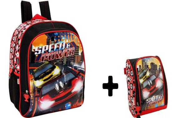 Kit Mochila G Escolar Infantil Com Lancheira Speed Ultimate