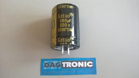 Capacitor Eletrolitico 680uf 200v 105c Fonte 25x36mm