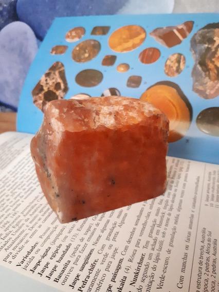 Calcita Laranja Corte De Pedra Natural Serrada Polida 243g