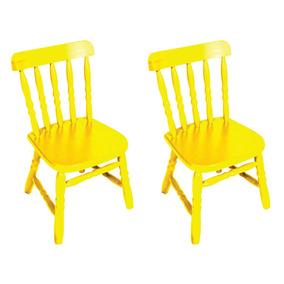 Kit 2 Cadeiras Infantil Country Amarela Ecomóveis Ei