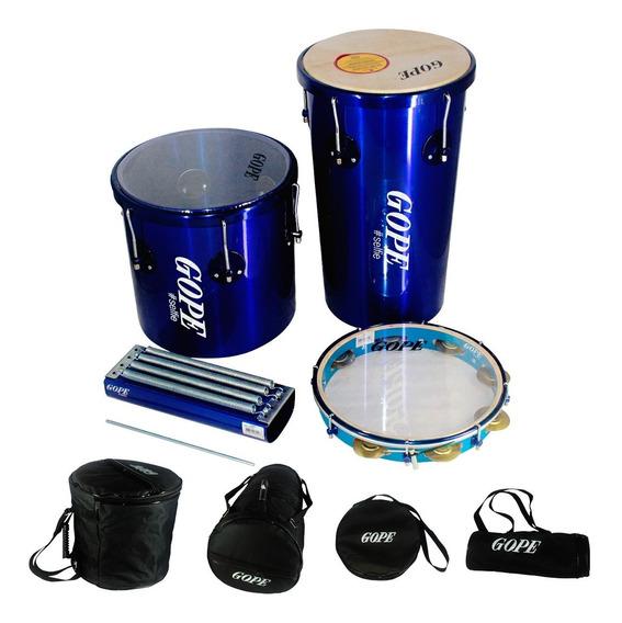 Kit Percussão Gope Rebolo 11pol, Repique 11pol, Pandeiro 12pol E Reco Reco 4 Molas Azul Selfie + Capas