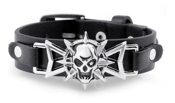 Nova Pulseira Bracelete Rock Caveira Ajustável Punk Metal