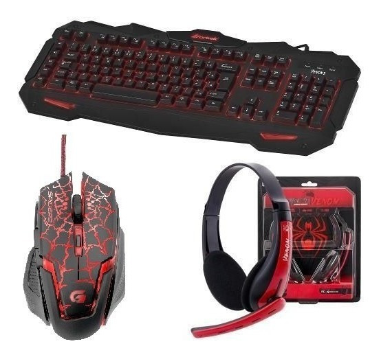 Kit Gamer Teclado Iluminado + Mouse + Headset Spider Fortrek