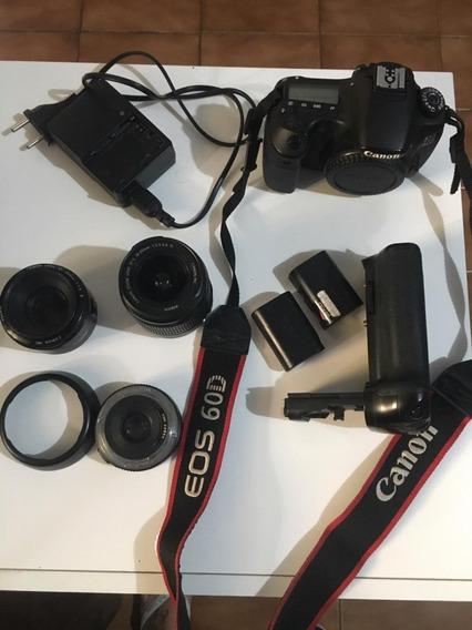 Câmera Canon Eos 60dc 2 Baterias + 3 Lentes + Grip Vertical