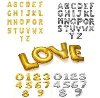 Globos Metalizados De Letras Dorados Plateados 40cm