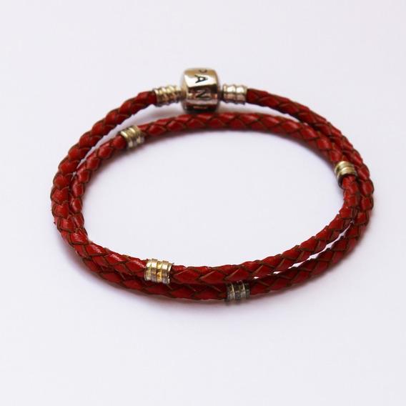 Pulseira Bracelete Couro 2 Duas Voltas Vermelha Est Pandora
