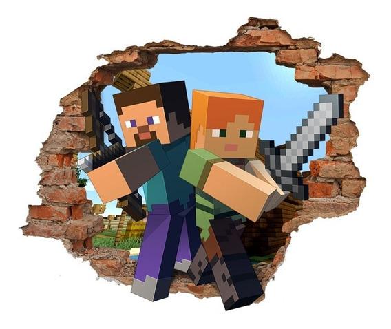 Vinilo Pared Rota 3d Minecraft 1,2x0,95 Mts