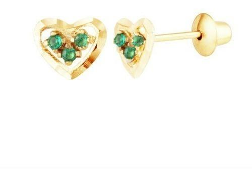 Brinco Coração De Ouro 18k Diamantado E Esmeraldas G03