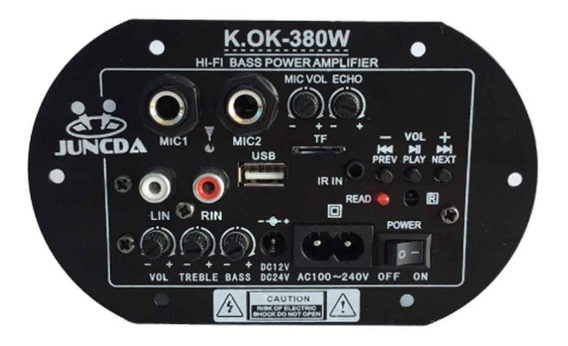 Placa Som Amplificada Bluetooth Usb Karaokê 2 Saídas