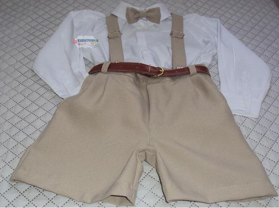 Conjunto Roupa Infantil C/bermuda Camisa Gravata Festa Pajem