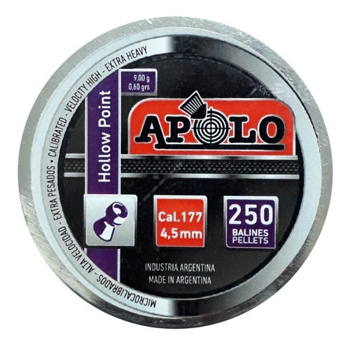 Balines Apolo Hollow Point 4.5 X250 Peso:0,60grs 9g Hueca