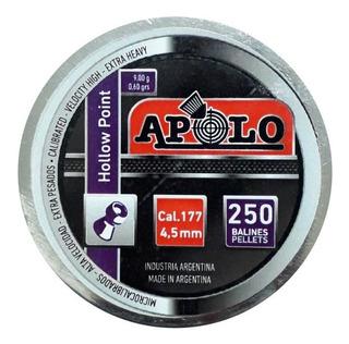 Balines Apolo Hollow Point 4.5 X250 Peso:0,60grs 9g Hueca