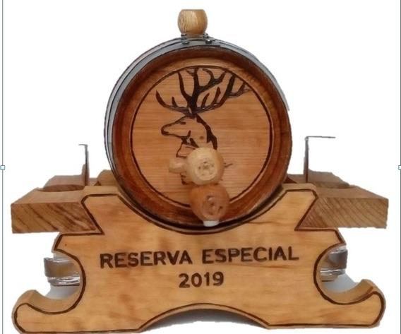 Barril De Madera Personalizado 5 Lts. Base Con 4 Copas Vacio