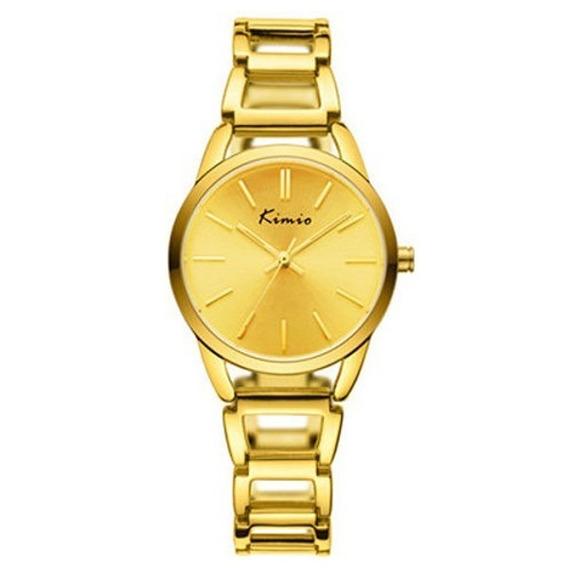 Relógio Dourado Feminino Luxo Redondo Kimio Kw6105 Original