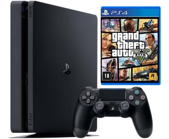 Playstation 4 Ps4 Slim 500gb Original + Controle + Gta 5