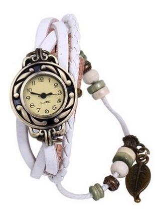 Relógio Feminino Pulseira Couro Pingente Folha Branco C/ Cx