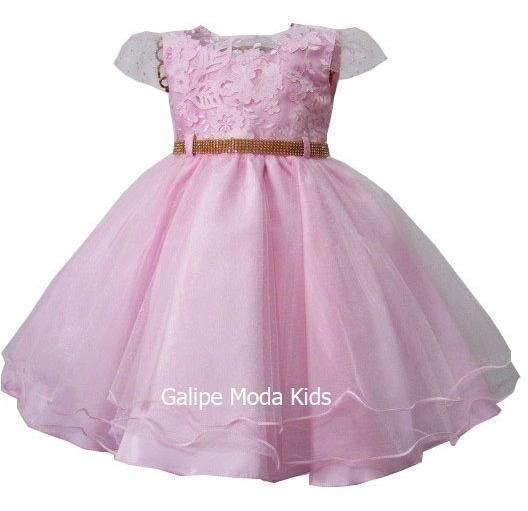 Vestido Infantil Rosa Luxo De Festas Damas Bela Adormec