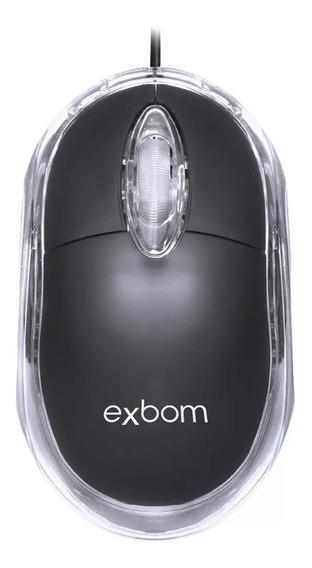 Mini Mouse Óptico Com Fio E Led Azul 1000dpi Usb Exbom