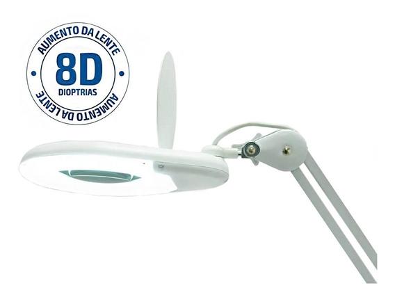Lupa Luminária Estética De Bancada Com Led E 8x De Aumento