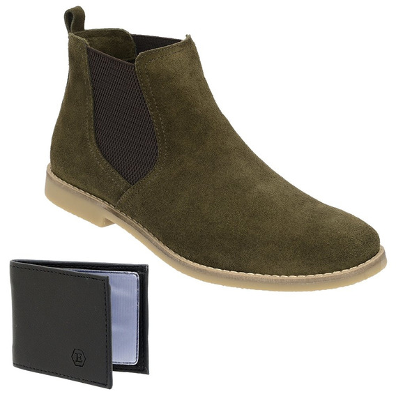 Botina Chelsea Boots Verde Retrô Couro Camurça + Brinde
