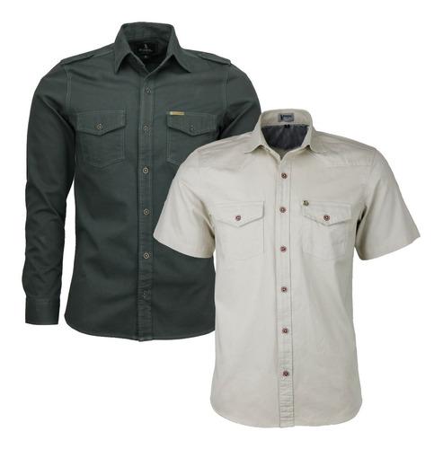 Imagem 1 de 6 de Kit 02 Camisas Masculina Amil Estilo Militar 01 Ml + 01 Mc