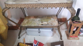 Mesa De Doble Marmol Onix Y Bronce 90 Años De Antiguedad
