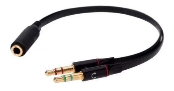 Adaptador De Áudio 1-p3 Fêmea X 2-p2 Macho 3.5mm P/ Headset
