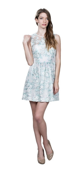 Vestido De Coctel Ark & Co Con Bordado Floral En Tonos Menta