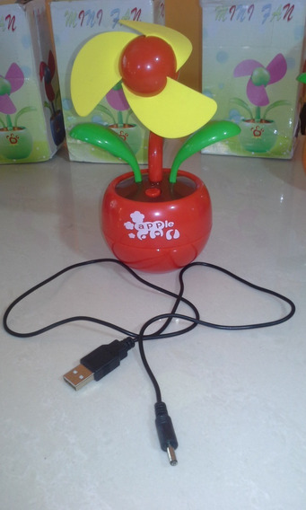 Mini Ventilador Flor Apple Usb P/ Pc E Notebook