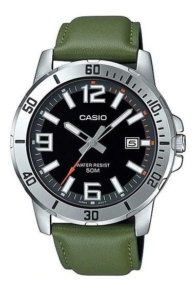 Relógio Casio Masculino Collection Couro Verde Mtp-vd01l-3bv