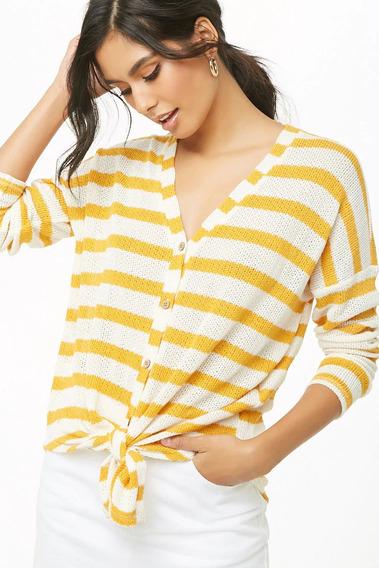Forever 21 Sweater Ligero Tejido Botones Nudo Frente Rayas