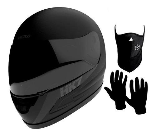 Imagen 1 de 8 de Casco Moto Integral Vertigo Hk7 Negro Mate + Regalos - Sti