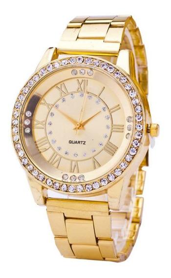 Relógio Feminino Neff G-35 Dourado Luxo Quartz Com Caixa