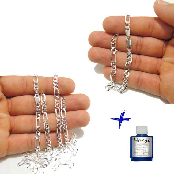 Cordao Corrente E Pulseira Grumet 3por1 Masculina De Prata Kit Conjunto + Lp