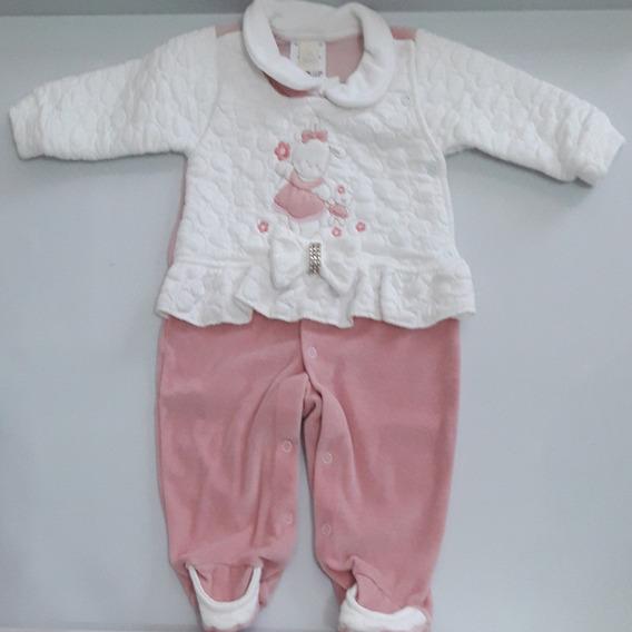 Saída De Maternidade 2 Peças Plush Com Porta Bebê Feminina