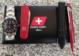 Set Reloj Swiss Army, Navaja, Lapicera Y Malla Secundaria