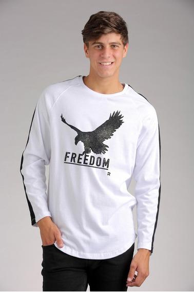 Remera Manga Larga Blanca Rever Pass Eagle Freedom