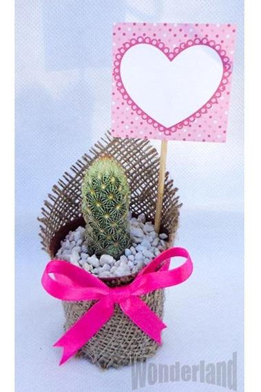 30 Souvenir Cactus Y Suculentas Con Arpillera Raso Tarjetita